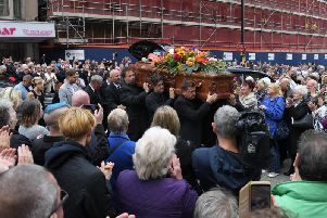 Joe Longthornes funeral at The Sacred Heart Roman Catholic Church in Blackpool