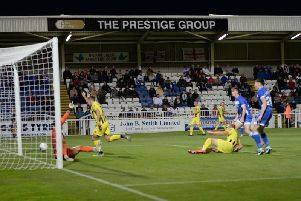 Matty Kosylo gets the final touch for Fylde's first goal