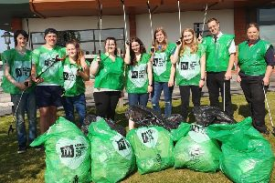 Volunteers from Shiptonthorpe McDonald's restaurant with the bags following the clean-up campaign.