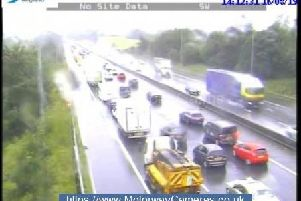Gridlock on the M6 soutbound at the Orrell interchange.
