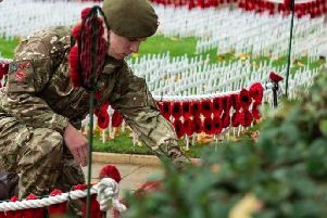 A touching scene from Remembrance Sunday in Burnley last year.