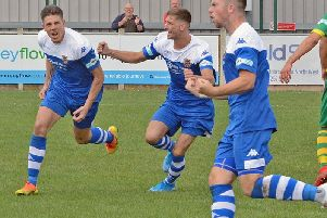 Joe Lumsden leads the celebrations after scoring for Pontefract Collieries against Runcorn Linnets. Picture: Dribbling Code