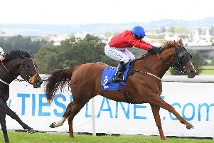 Perfection, ridden by Silvestre De Sousa, wins the EBF Stallions Highfield Farm Flying Fillies' Stakes. Picture: Alan Wright