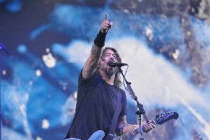 Dave Grohl on stage with headliners Foo Fighters who played a storming headline set on the first night of the Leeds Festival.
