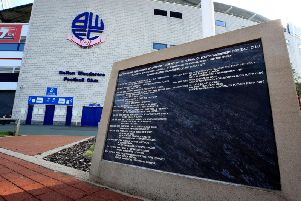 A plaque outside at the University of Bolton Stadium