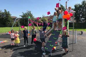 Youngsters celebrate the opening of the Mariners Close park in Fleetwood