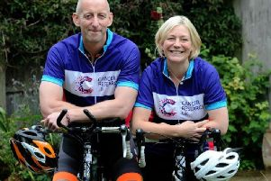 Ross and Sharon Bowie on their bikes ahead of the Cycle 300 challenge