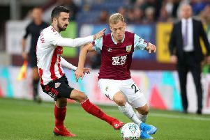 Burnley's Matej Vydra takes on Sunderland's Conor McLaughlin in the Carabao Cup tie at Turf Moor