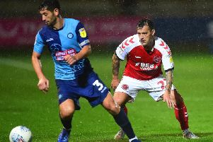 Ross Wallace (right) in one of four substitute appearances for Fleetwood this season