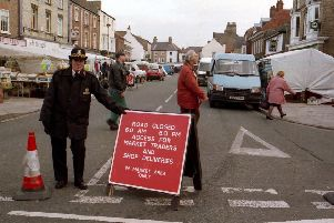 Road closed for the Pocklington Market back in the 1990s.