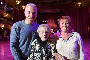 101-year-old Jean Harling revisits Blackpool Tower with her grandson Rick Bentley and daughter Audrey Harvey.