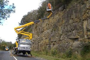 The maintenance work at Sutton Bank. PIC: North Yorkshire County Council.