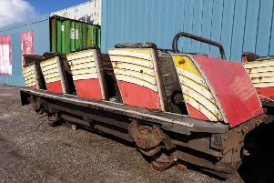 A car from the Roller Coaster originally called the Velvet Coaster, operating from 1909 - 1932. Components of the Velvet Coaster were used to create the Roller Coaster ride which is now known as the Nickelodeon Streak.'Price: 500 pounds.