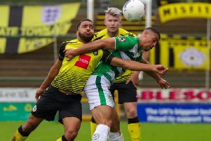 Brendan Kiernan in action during Harrogate Town's 2-1 victory over Yeovil Town. Picture: Matt Kirkham