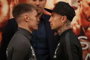 Anthony Nelson, right, and Charlie Edwards come face to face before they clash on Eddie Hearn's Matchroom Promotion at the Metro Arena tonight.