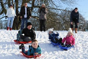 Families enjoying the snow in Bridlington in 2013.
