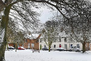 Snow in Bridlington Old Town last February.
