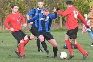 Nathan Pickering in action for Lodge against Pock Town 4ths