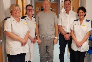 Staff from Bridlington Hospital with hip replacement patient Kevan Jackson.