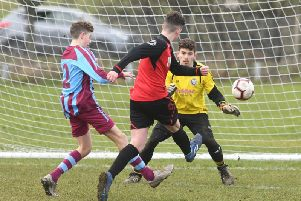 Burlington Jackdaws Under-16s Brad OConnell opens the scoring against Tickton Warriors PICTURE BY DOMINICK TAYLOR