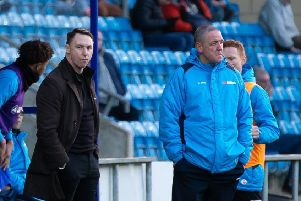 Manager Jamie Fullarton and assistant boss Phil Hughes