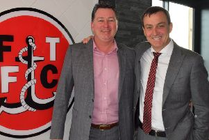 Norry Ascroft (left) with Fleetwood Towm chairman Andy Pilley