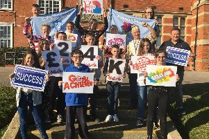 Pupils and staff at Bridlington School celebrate reaching 24,000.