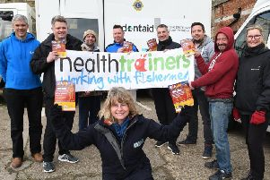 Dentists, Health Trainers and fishermen at Bridlington Harbour.