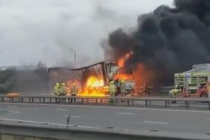 Lorry fire on the M1 motorway. Picture: Matthew Barber.