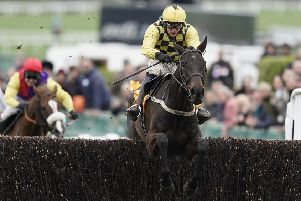 Al Boum Photo, ridden by Paul Townend and trained by Willie Mullins, jumps the last to seal his Magners Cheltenham Gold Cup triumph (PHOTO BY: Alan Crowhurst/Getty Images).