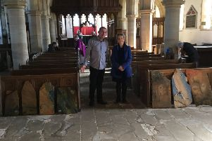 The decorated stones at St Oswald's Church in Lythe will be sold to raise funds for the church.