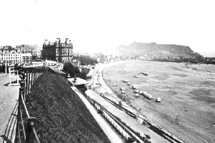 A spectacular view of Scarborough's wonderful south bay taken from the Esplanade. Dominating the centre of the picture is the Grand Hotel which at the time of opening in 1867 was the largest and most advanced in Europe. Bathing machines can be seen lined up on the beach below the hotel.'Photo reproduced courtesy of the Max Payne collection. 'Reprints can be ordered with proceeds going to local charities. Telephone 0330 1230203 and quote reference number