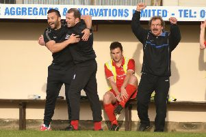 Bridlington Town boss Brett Agnew, second from left, is making his return to the squad this weekend at Hemsworth