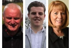 From left, Stephen Jeffrey Peel (Green Party), Sam Prior (Conservatives), Susan Malcolm Traynor (Labour).