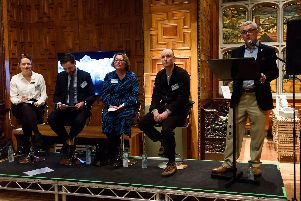 From left, Kim Streets, chief executive of Museums Sheffield; Michael Meadows, British Land; Deidra Armsby, Westminister City Council; Tinsley chimneys artist Alex Chinneck and Martin McKervey, chairman of the S-PA.
