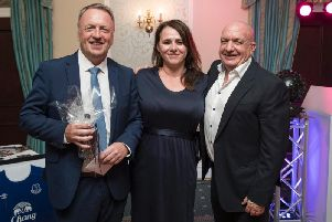 Neil Howarth (left); Janine Blythe, CEO of Inspire Youth Zone; and Andrew Turner, Chairman of Inspire Youth Zone and the Chorley Group (Paul Currie)