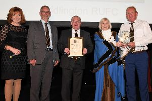 Representatives from Bridlington Rugby Club with Margaret Chadwick and event host Clare Frisby.