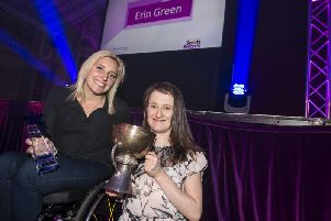 Paralympian Shelly Woods with double award winner Erin Green
