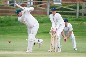 TOP KNOCK: Great Habton skipper John Lumley hits out during his 92. PICTURES BY ANDY STANDING