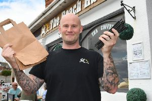 Owner Liam McDonald has switched from using plastic in his business.'Picture by Paul Atkinson.