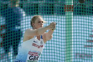 BYDGOSZCZ, POLAND - AUGUST 11: Sophie Hitchon from Great Britain & Northern Ireland competes in women's hammer throw final while European Athletics Team Championships Super League Bydgoszcz 2019 - Day Three at Zawisza Stadium on August 11, 2019 in Bydgoszcz, Poland. (Photo by Adam Nurkiewicz/Getty Images)