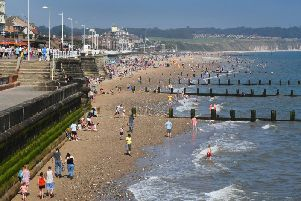 Residents and visitors on Bridlington beach on August bank holiday