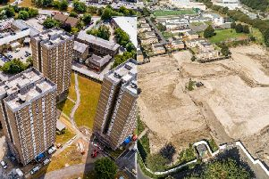 The former Beech Hill Tower blocks and how the site looks now