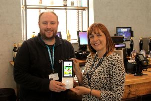 James Howard of Yorkshire Payments, with Laura Golding.