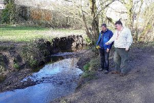 Champion for Environment and Green Space at Chorley Council, Councillor Mark Clifford with local resident Stephen Whittle at Carr Brook Linear Park