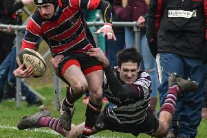 Hullensians v Rishworthians'Doug Heseltine tackles