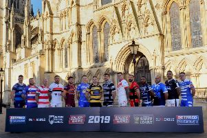220116   Players from  RFL  Championship clubs  outside  York  Minster for  the launch photographs  of the new season  in York yesterday(tues).