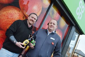 Pictured are Black Storm Brewery operations director James Davie-Baguley, left, and Co-op Food store manager Richard Craven.