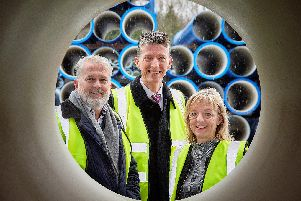 Stewart Bailie, managing director, Electrosteel Castings, Matthew Chenery, relationship director, Barclays and Sue Bayston, trade director, Barclays