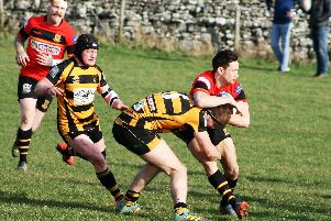 Harrogate Pythons' Ned Rutty is tackled during Saturdays loss to Wensleydale